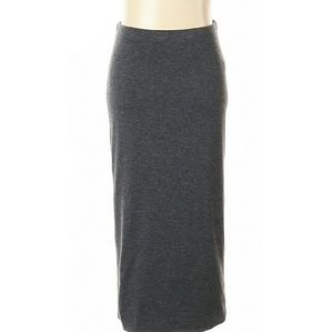 Charcoal Knit Midi Pencil Skirt (lined, no slit)
